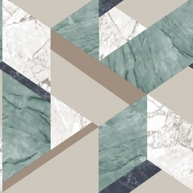 Marblesque Geometric Wallpaper Emerald (FD42301)