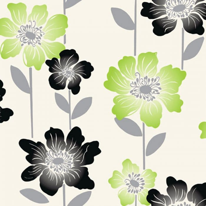 Coloroll margarita floral wallpaper lime green black for Lime kitchen wallpaper