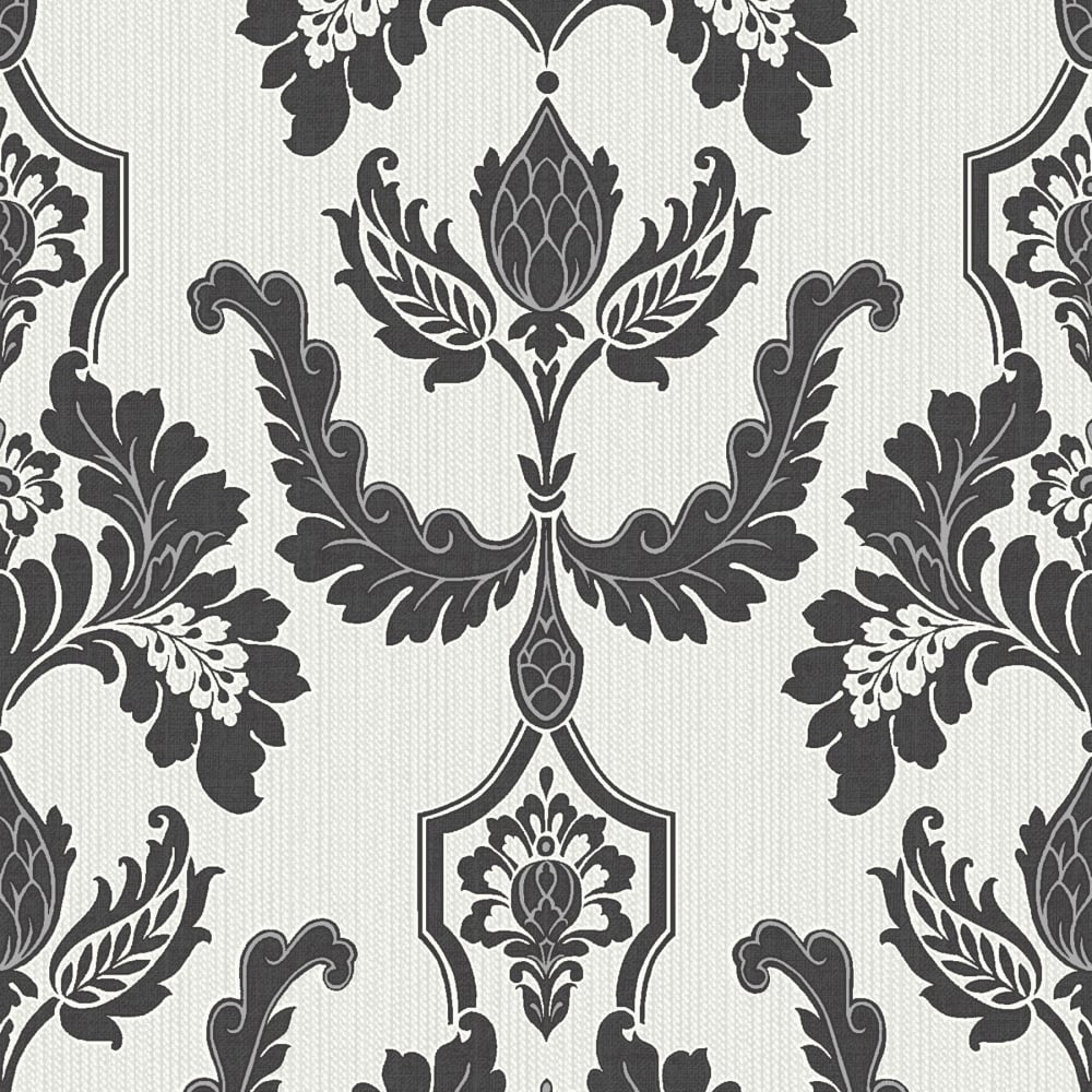Designer interiors martinique damask wallpaper black for Black and cream wallpaper
