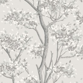 Meadow Floral Trail Wallpaper Grey