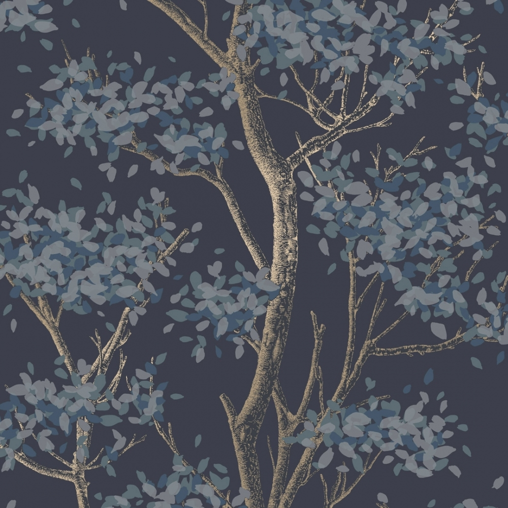 Meadow Floral Trail Wallpaper Navy Wallpaper From I Love