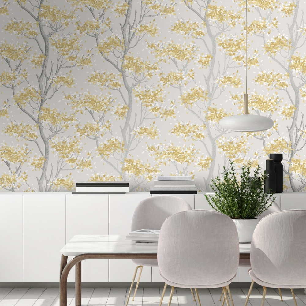 Meadow Floral Trail Wallpaper Yellow Wallpaper From I Love