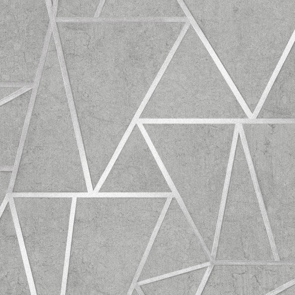 Metro Geometric Apex Wallpaper Grey Silver Wallpaper