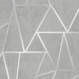 Metro Geometric Apex Wallpaper Grey Silver