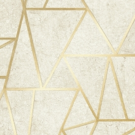 Metro Geometric Apex Wallpaper Neutral Gold