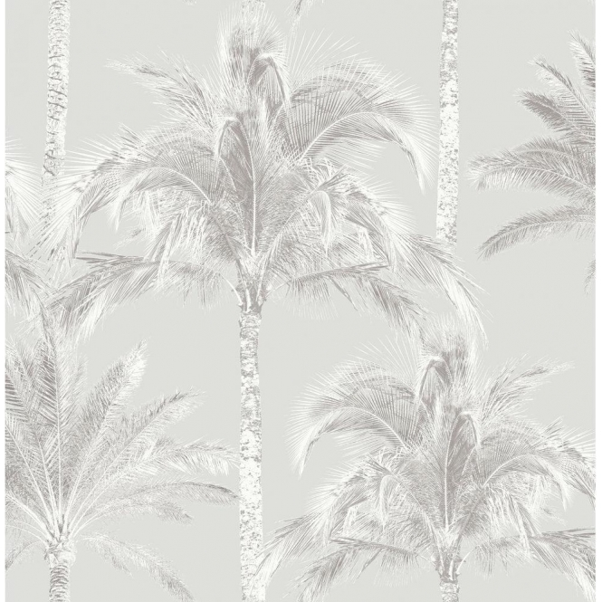 Fine Decor Miami Palm Tree Wallpaper Soft Grey (FD40904)