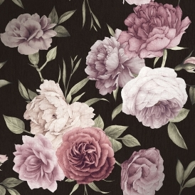 Midnight Floral Wallpaper Black, Burgundy