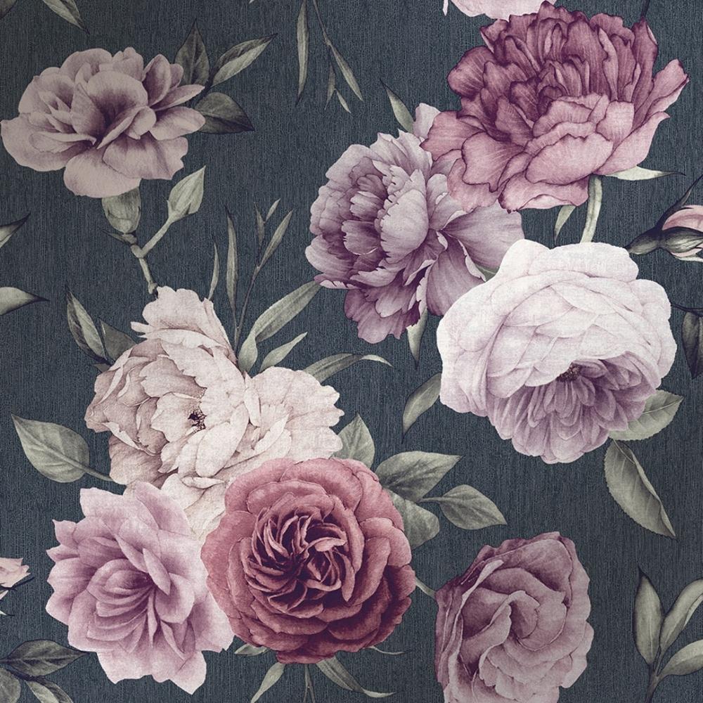 I Love Wallpaper Midnight Floral Wallpaper Slate Burgundy