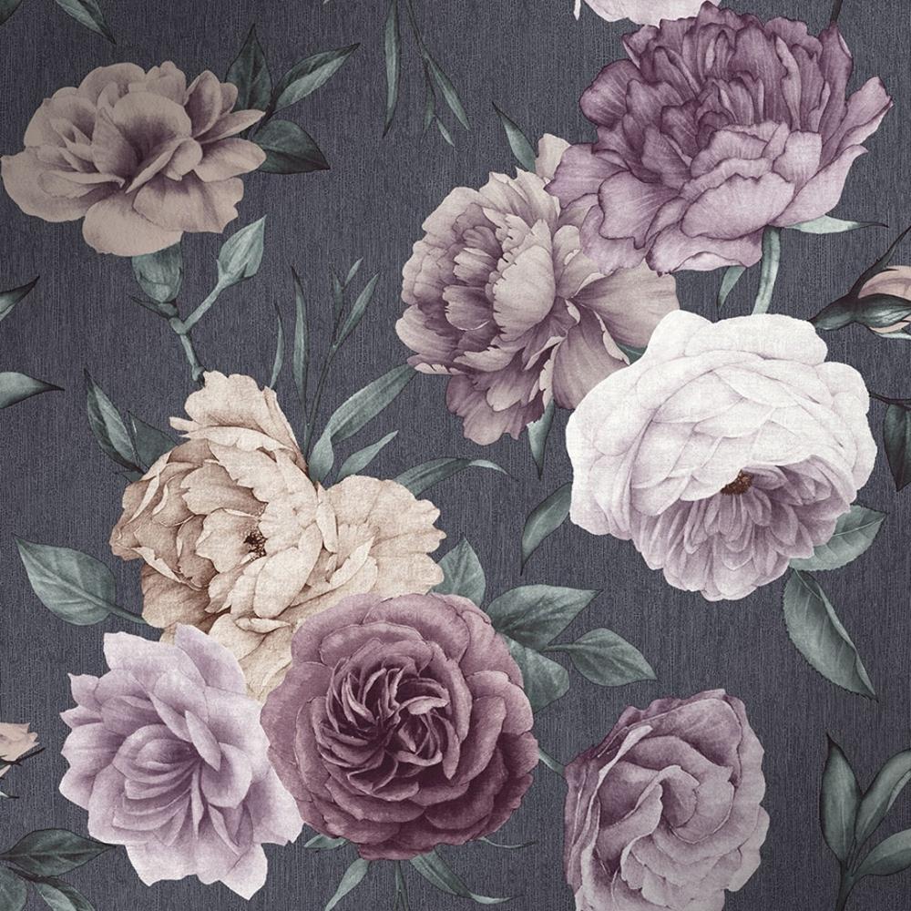 Orange And Teal Walls: Midnight Floral Wallpaper Slate, Purple