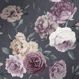 Midnight Floral Wallpaper Slate, Purple