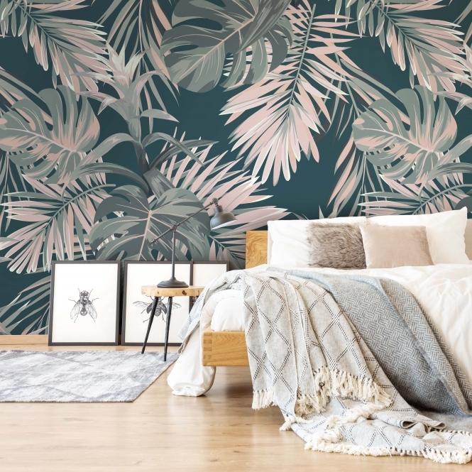 Midnight Tropics Mural In Pink Teal I Love Wallpaper