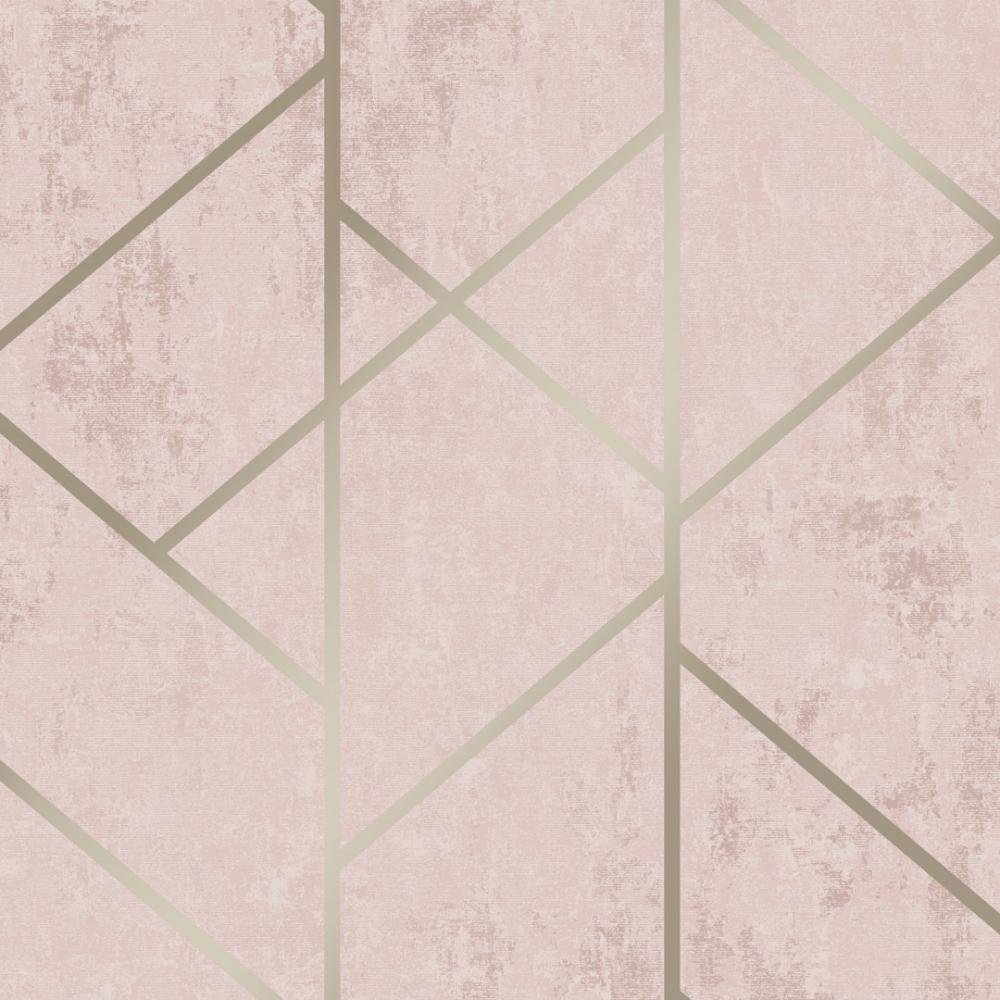 I Love Wallpaper Milan Geo Metallic Wallpaper Blush Pink
