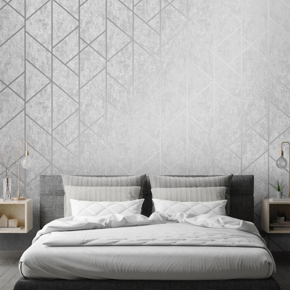 Milan Geo Metallic Wallpaper Grey Silver Wallpaper From I Love Wallpaper Uk