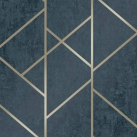 Milan Geo Metallic Wallpaper Navy Gold