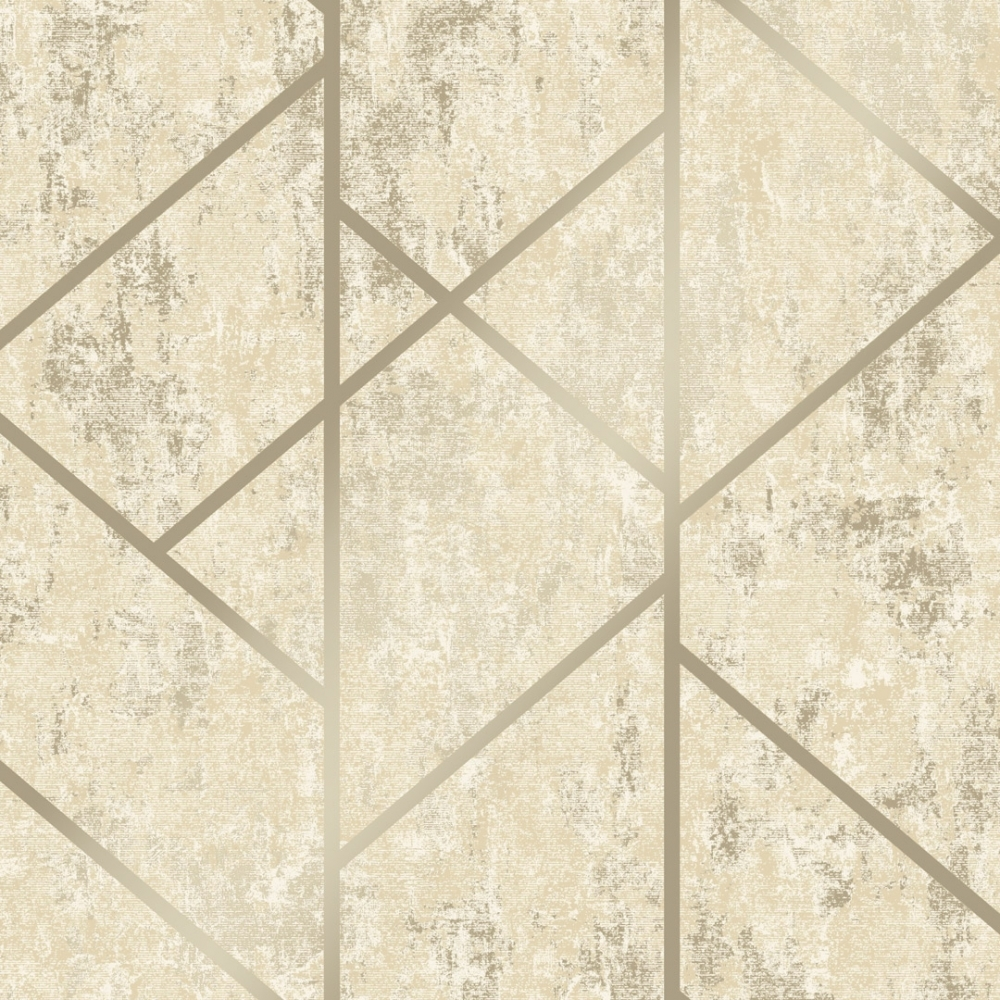 Milan Geo Metallic Wallpaper Neutral Gold Wallpaper From