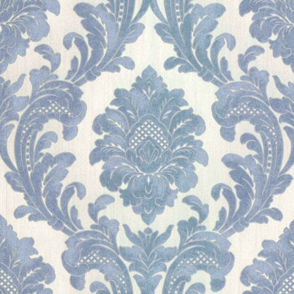 Milano 7 Damask Wallpaper Blue White M95586 Wallpaper