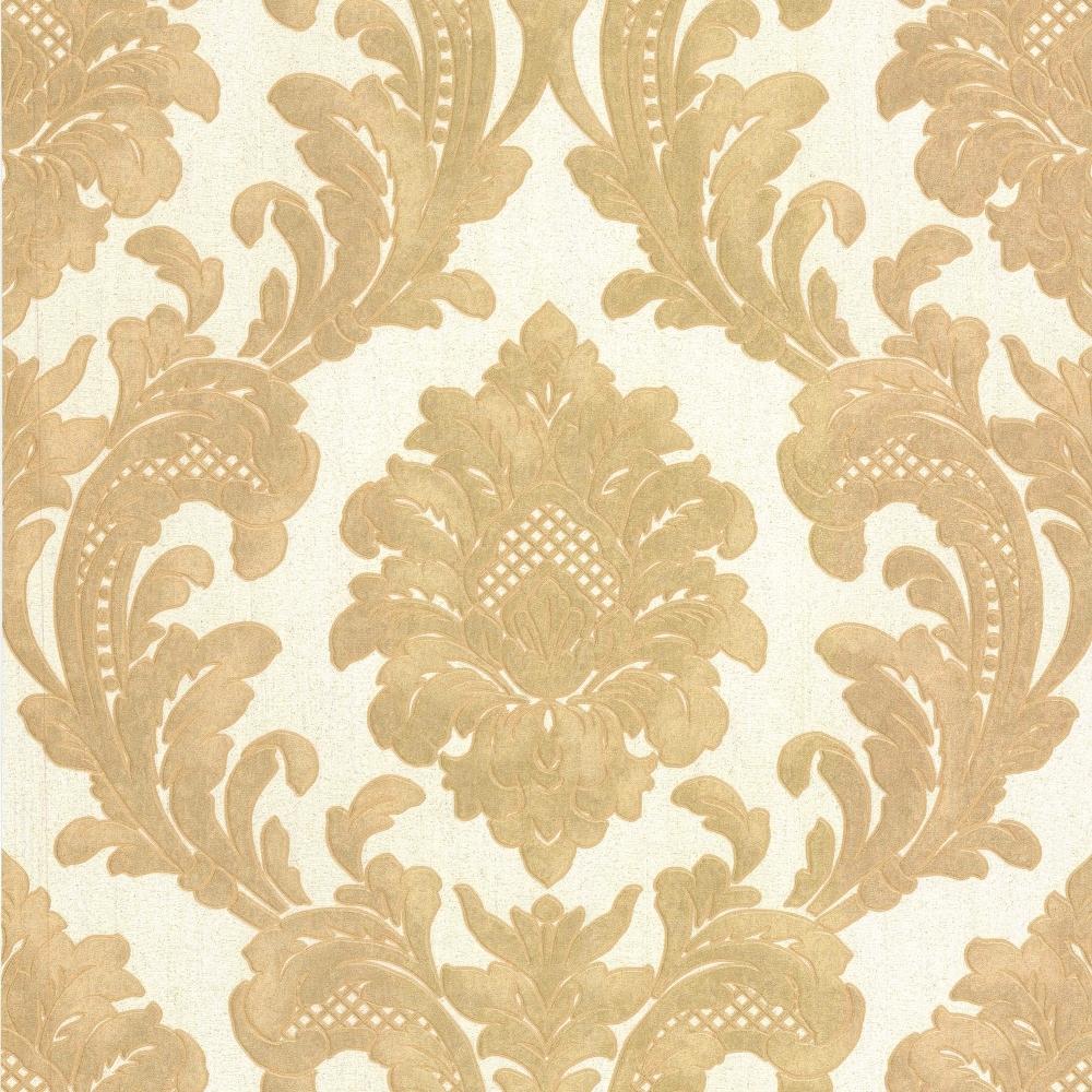 Milano 7 damask wallpaper gold white m95588 wallpaper for Damask wallpaper