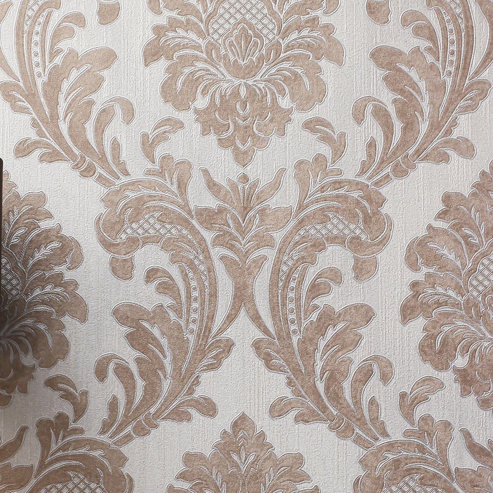 16 Rose Gold And Copper Details For Stylish Interior Decor: Fine Decor Milano 7 Damask Wallpaper Rose Gold