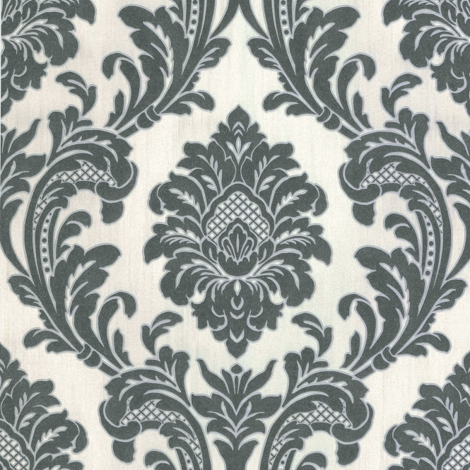 Milano 7 Damask Wallpaper White, Black (M95584)