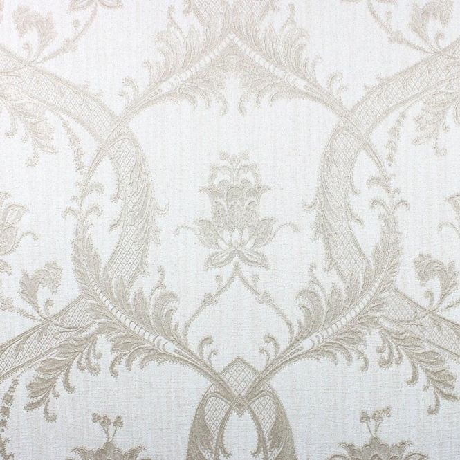 Damask Glitter Wallpaper Mica, Silver (M95561)