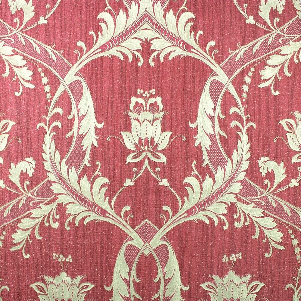 Damask Glitter Wallpaper Red Gold M95564