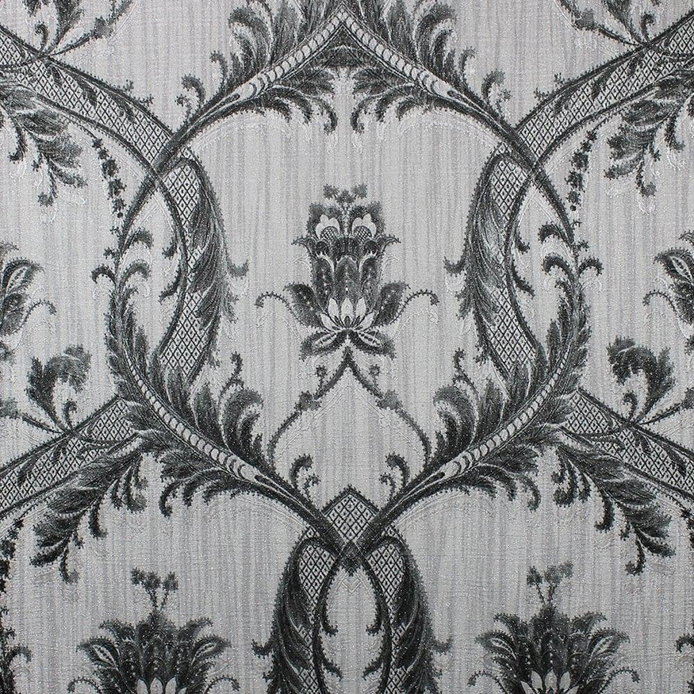 Milano Damask Glitter Wallpaper Silver Black Wallpaper From I Love