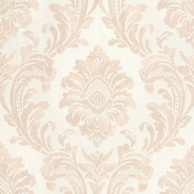 **Sample** 7 Damask Wallpaper Beige, White (M95589-SAMPLE)