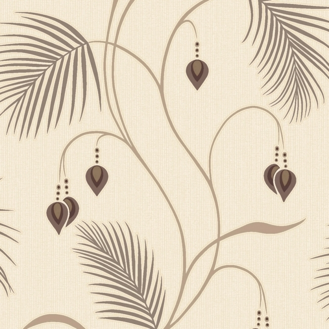 Designer Interiors Moriko Floral Wallpaper Choc, Cream (75483)