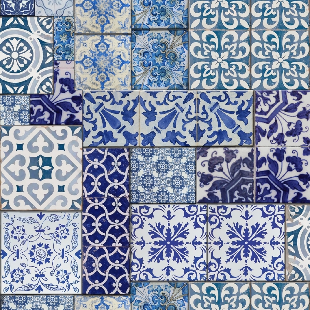Muriva Moroccan Tiles Wallpaper Blue White 601547