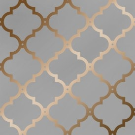 Morocco Trellis Wallpaper Grey Copper