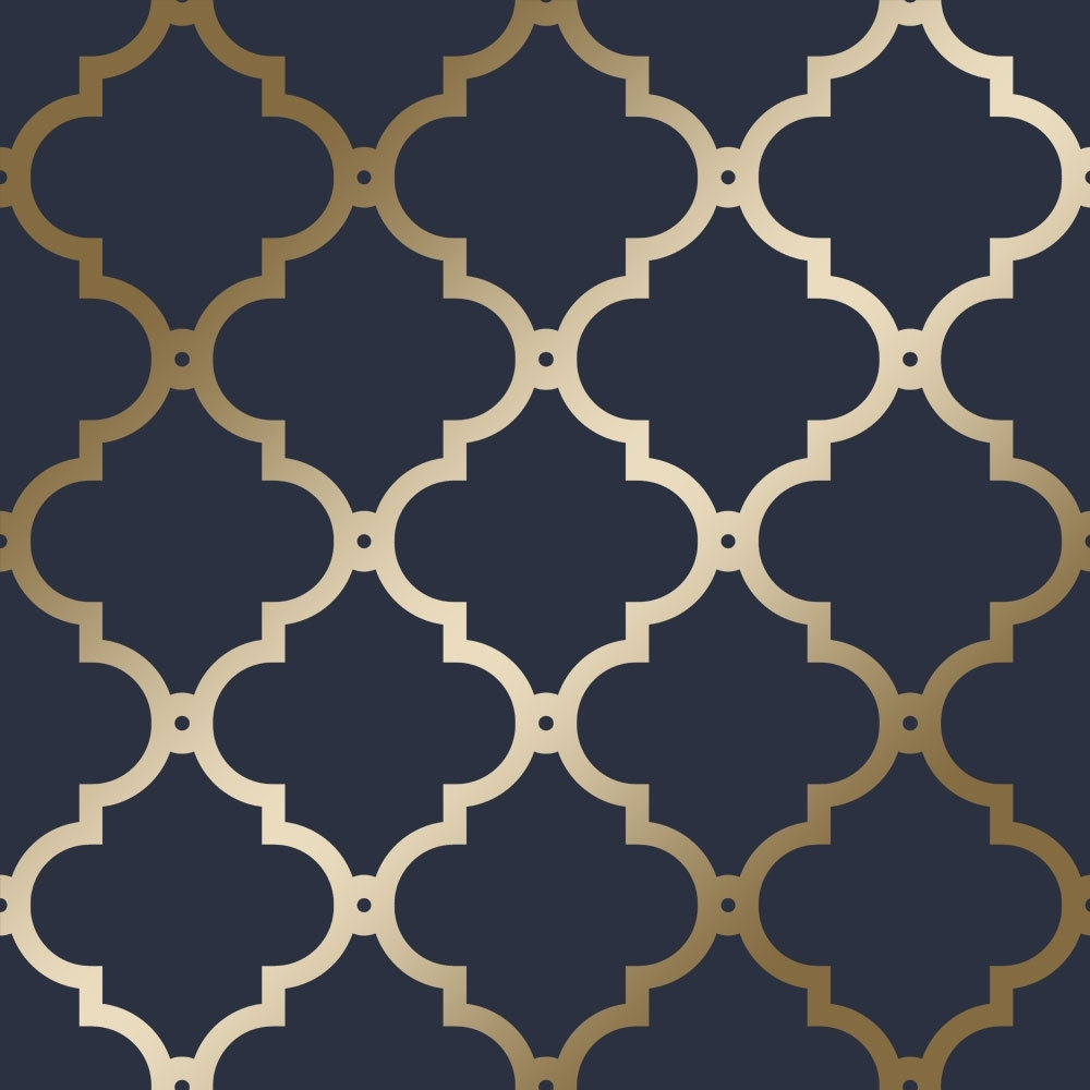 I Love Wallpaper Morocco Trellis Wallpaper Navy Gold