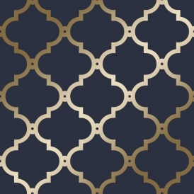 Morocco Trellis Wallpaper Navy Gold