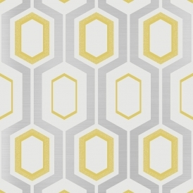 Mortimer Geometric Wallpaper Yellow Silver White