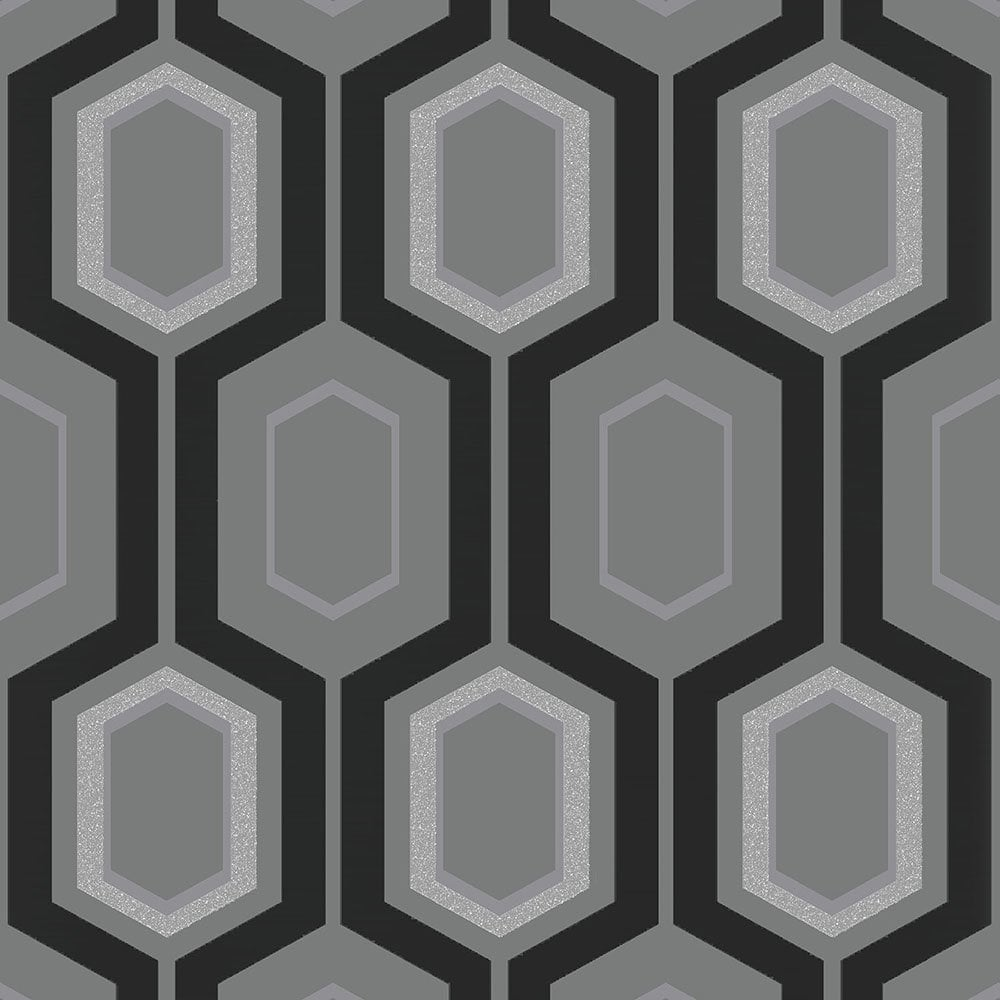 Coloroll mortimer wallpaper black grey silver m1027 for Black white and grey wallpaper