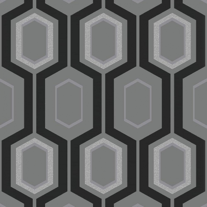 Coloroll Mortimer Wallpaper Black / Grey / Silver (M1027)