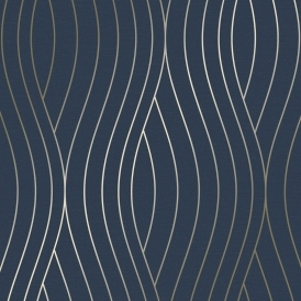Motion Geo Wave Wallpaper Navy