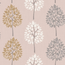 Multi Tree Wallpaper Pink Gold