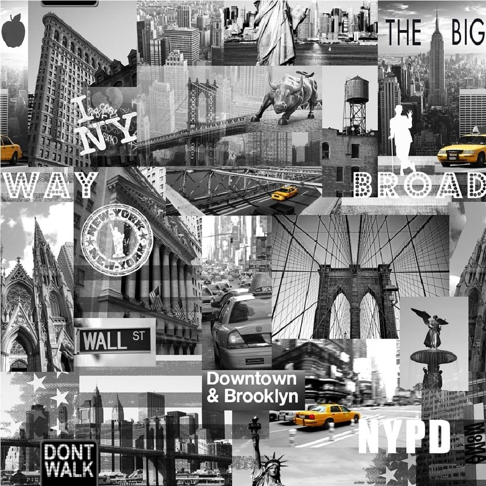 Muriva big apple new york city wallpaper black grey for New york wallpaper rolls