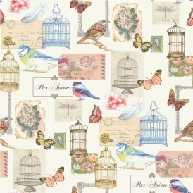 Bird Cage Wallpaper White / Multi-Coloured (J51112)