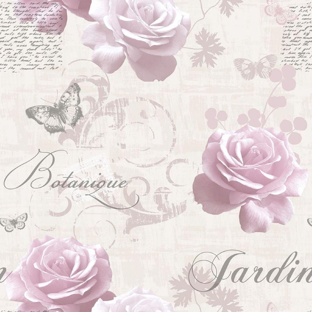 Botanical Garden Wallpaper Pink White 127502