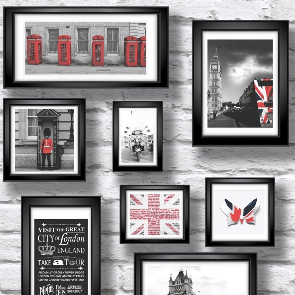 Muriva Britain in Frame Wallpaper Red, White, Black (102533 ...
