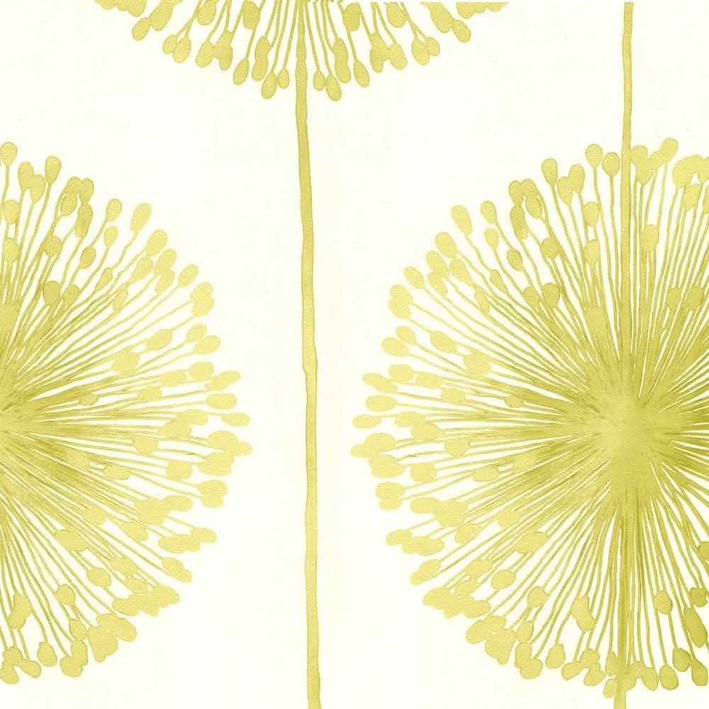 Dandelion Floral Wallpaper Cream Lime Green J04204