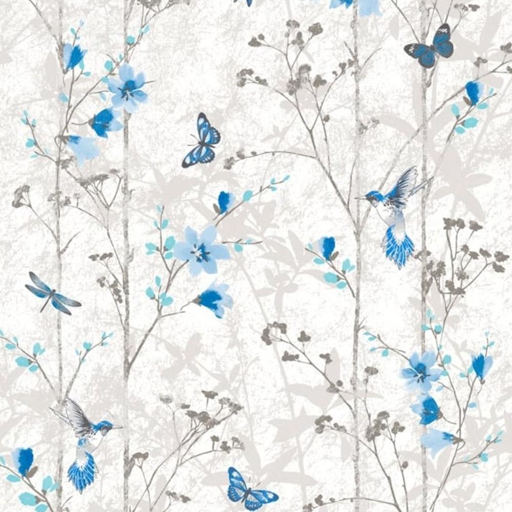 Eden Butterflies Wallpaper Blue 102552