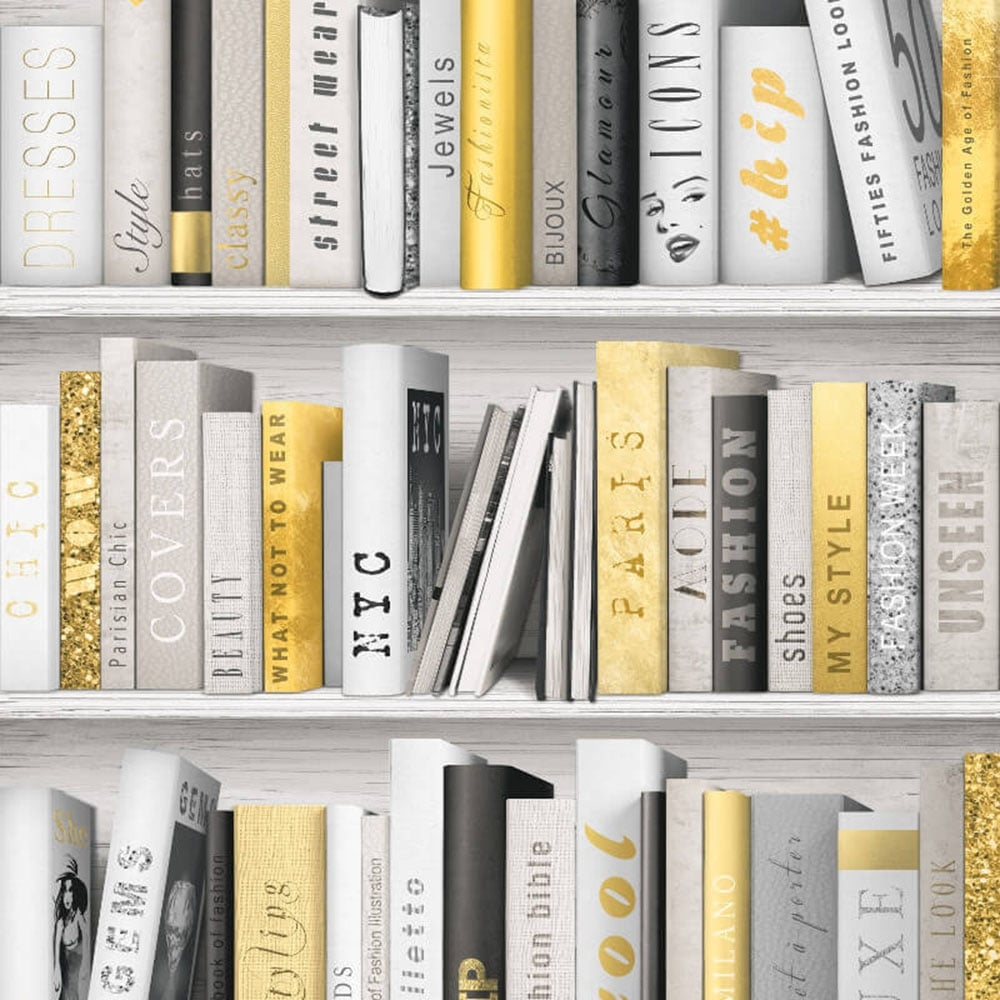 Fashion Library Wallpaper Gold