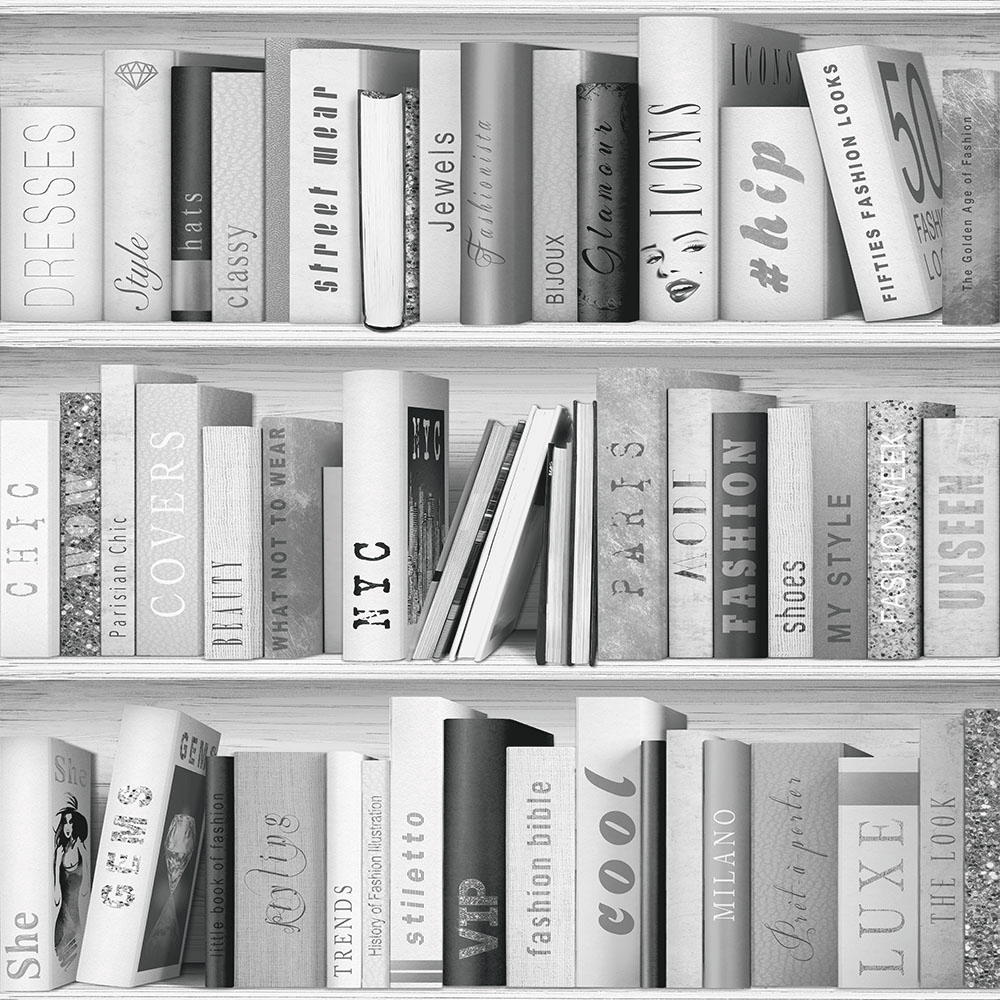 Muriva Fashion Library Wallpaper Silver Wallpaper From I