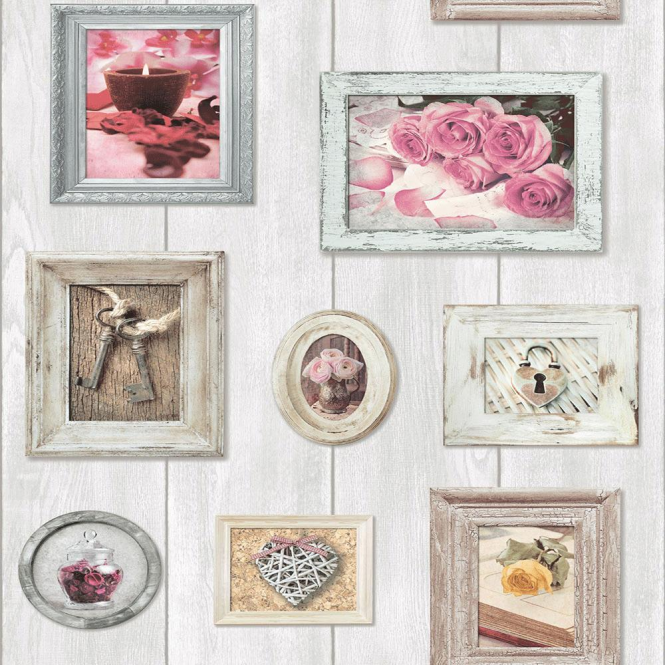 Muriva Home Sweet Home Wallpaper Cream, Pink (102566)