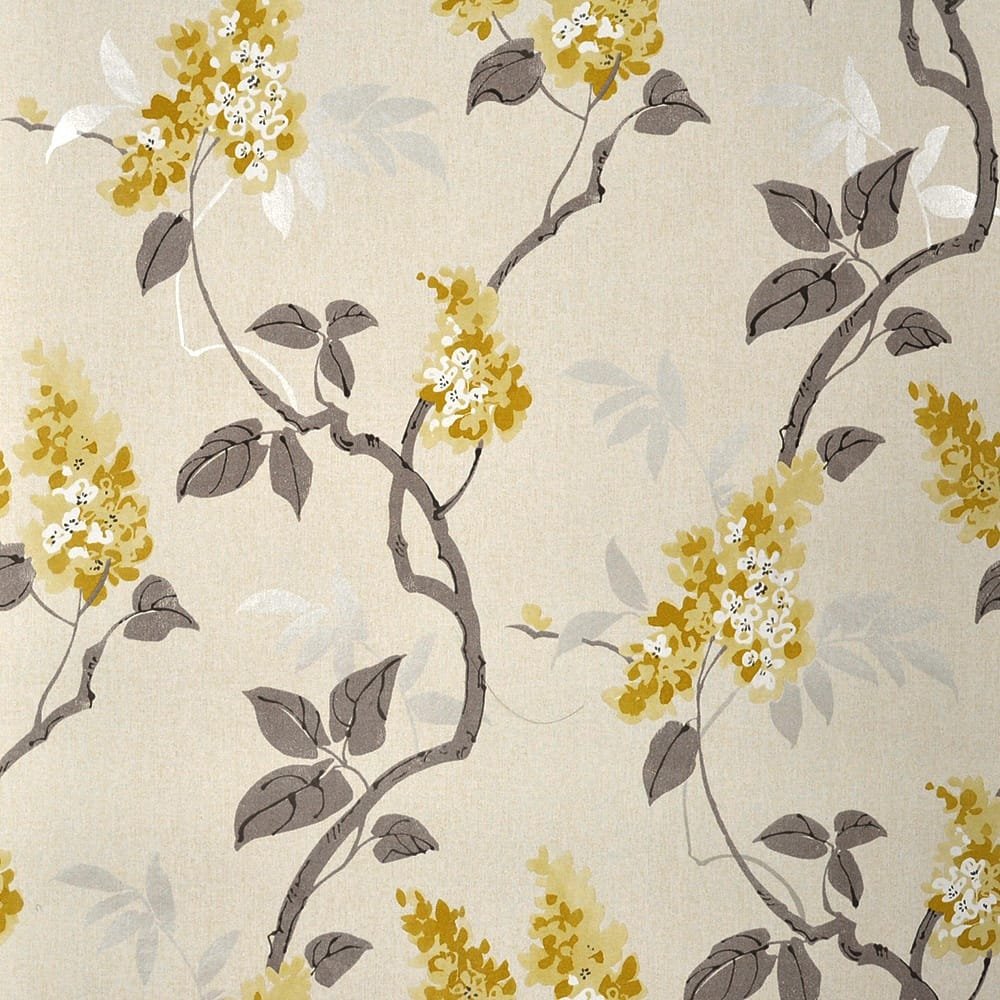 Muriva Jasmine Floral Wallpaper Yellow Cream Wallpaper