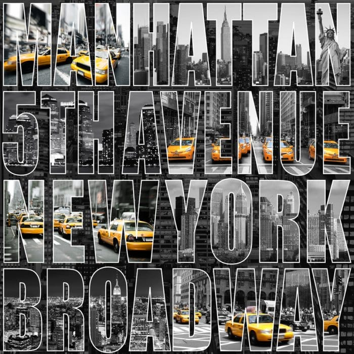 Letters From New York Nyc Wallpaper Black Grey Yellow