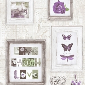 Live Laugh Love Frames Wallpaper Purple / Cream (131504)