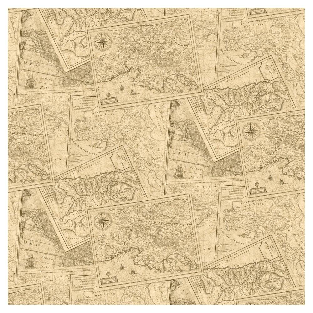 Muriva Map Wallpaper Taupe, Brown (601509)